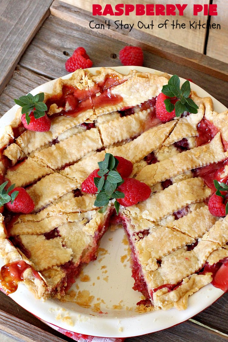 Raspberry Pie | Can't Stay Out of the Kitchen | my Mom's homemade #RaspberryPie #recipe is simple yet elegant enough for #holidays like #Christmas or #ValentinesDay. One bite and you'll be hooked forever! #dessert #raspberries #RaspberryDessert #HolidayDessert
