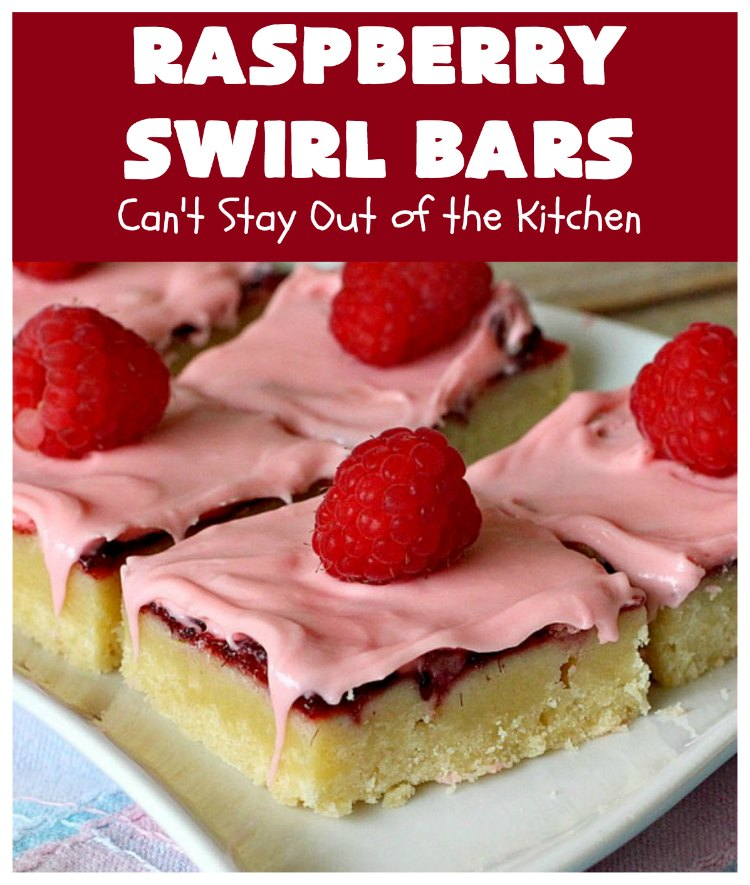Raspberry Swirl Bars | Can't Stay Out of the Kitchen | these luscious #cookies contain #RaspberryPieFilling & have a #Raspberry #CreamCheese icing. Great #dessert for #holidays or company. #tailgating #RaspberryDessert #RaspberrySwirlBars