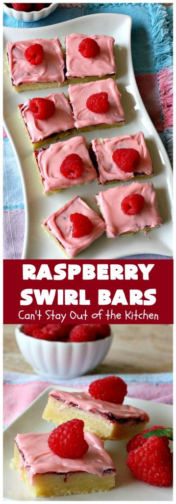 Raspberry Swirl Bars | Can't Stay Out of the Kitchen
