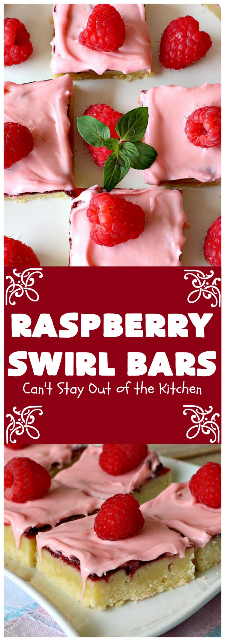 Raspberry Swirl Bars   Can't Stay Out of the Kitchen   these luscious #cookies contain #RaspberryPieFilling & have a #Raspberry #CreamCheese icing. Great #dessert for #holidays or company. #tailgating #RaspberryDessert #RaspberrySwirlBars