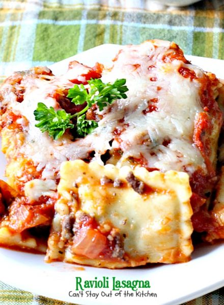 Ravioli Lasagna | Can't Stay Out of the Kitchen | this amazing #lasagna is SOOO quick and easy to make. It uses #beef or cheese #ravioli and #spaghettisauce making it so effortless on weeknights when you don't have a lot of time to prepare a meal. #pasta