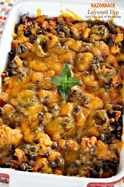 Razorback Layered Dip | Can't Stay Out of the Kitchen | this amazing #Tex-Mex #appetizer has only 4 ingredients. Quick, easy, sensational! #cheese #glutenfree #blackbeans