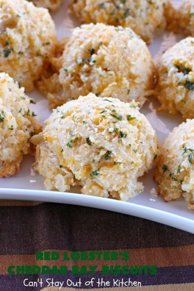 Red Lobster's Cheddar Bay Biscuits | Can't Stay Out of the Kitchen | these fantastic #biscuits are to die for! They are the BEST #copycat #recipe for #RedLobstersCheddarBayBiscuits. Terrific for family, company or #holiday dinners like #MothersDay or #FathersDay. #RedLobster #bread #CheddarBayBiscuits #BestCheddarBayBiscuitsRecipe #CheddarCheese