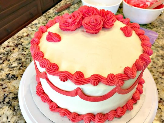 Red Velvet Cake | Can't Stay Out of the Kitchen | our favorite #RedVelvetCake recipe. This one has a luscious #creamcheese icing. Fabulous for anniversaries, #holidays or #Valentine'sDay. #cake #dessert #chocolate