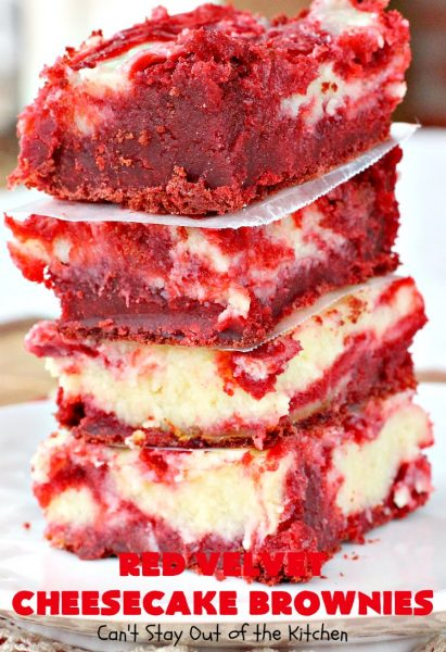 Red Velvet Cheesecake Brownies | Can't Stay Out of the Kitchen | these are the most awesome #redvelvet #brownies ever! They have a luscious #cheesecake layer swirled into the batter. Perfect #dessert for #holidays like #Christmas or #ValentinesDay.