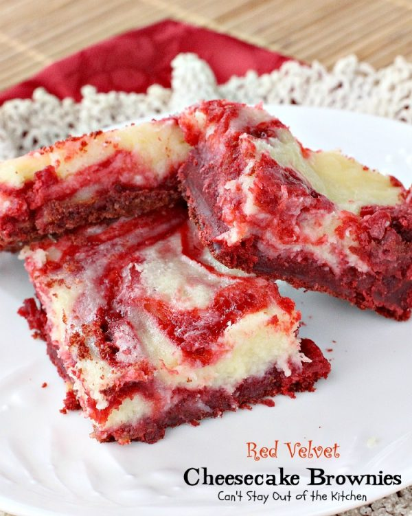 Red Velvet Cheesecake Brownies | Can't Stay Out of the Kitchen | after one taste of these delectable #brownies they are sure to become your favorites! We LOVE this rich and decadent #redvelvet #dessert. #chocolate #cheesecake