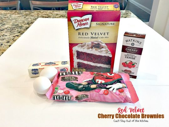 Red Velvet Cherry Chocolate Brownies | Can't Stay Out of the Kitchen | these fantastic #brownies start with a #RedVelvet cake mix and #M&M's. Totally outrageous #dessert you've got to make for #Valentine'sDay!