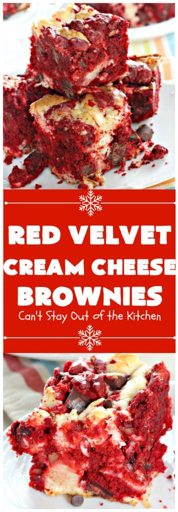 Red Velvet Cream Cheese Brownies | Can't Stay Out of the Kitchen | these favorite #holiday #brownies start with a #RedVelvet #cakemix. The #cheesecake layer includes #coconut adding extra punch. This terrific #cookie is wonderful for #Christmas or #ValentinesDay parties or #ChristmasCookieExchanges. #dessert #chocolate #Red VelvetDessert #ChocolateDessert #brownie #HolidayDessert