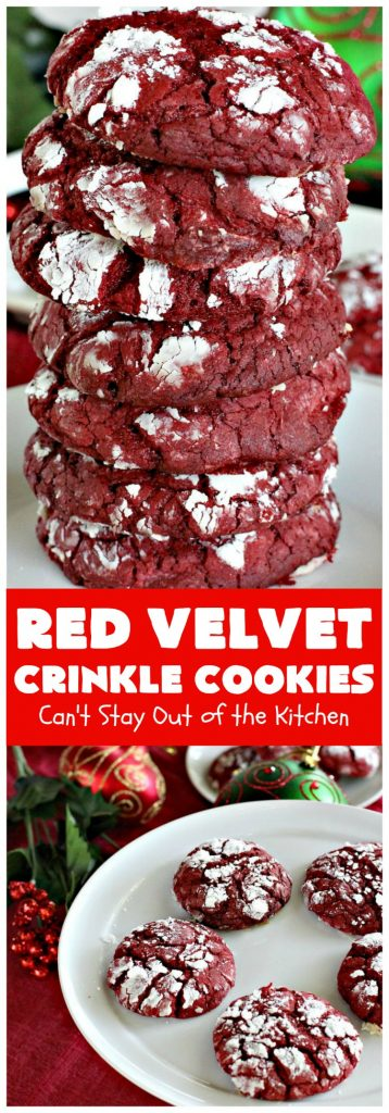 Red Velvet Crinkle Cookies | Can't Stay Out of the Kitchen | these sensational 6-ingredient #cookies are perfect for the #holidays & #Christmas #baking. They start with a #RedVelvet #cakemix making them so quick & easy. #Dessert #RedVelvetCookies #RedVelvetDessert #ChristmasDessert #ChristmasCookieExchange