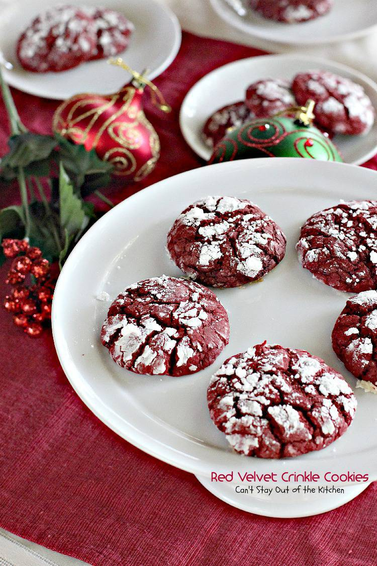 Red Velvet Crinkle Cookies | Can't Stay Out of the Kitchen | sensational #cookies that are great for the #holidays and #valentine'sday. These start with a #redvelvetcakemix making them extremely easy! #redvelvet #chocolate #dessert