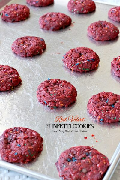Red Velvet Funfetti Cookies | Can't Stay Out of the Kitchen | these amazing #cookies are so easy since they start with a #RedVelvet #cakemix! Then they're filled with sprinkles for a quick and easy #dessert you can make in about 20 minutes! #chocolate