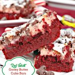 Red Velvet Gooey Butter Cake Bars | Can't Stay Out of the Kitchen | these sensational #brownies start with a #redvelvet cake mix for the crust. A #cheesecake layer is topped with #chocolate chips. These make terrific goodies for #holiday baking. #dessert