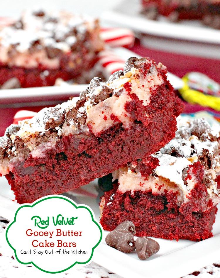 Red Velvet Gooey Butter Cake Bars