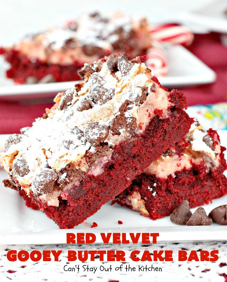 Red Velvet Gooey Butter Cake Bars