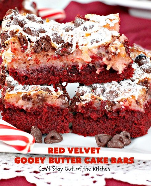 Red Velvet Gooey Butter Cake Bars | Can't Stay Out of the Kitchen | the most awesome #RedVelvet #Brownies ever! The luscious #cheesecake layer is ooey, gooey, decadent & delicious! Terrific #ValentinesDay #dessert.