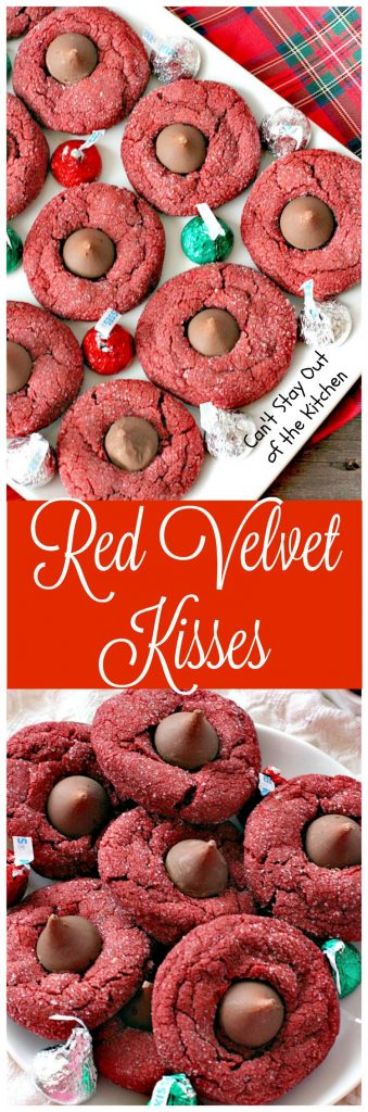 Red Velvet Kisses | Can't Stay Out of the Kitchen | these amazing #redvelvet #cookies have a #Hersheys kiss in the center. Fabulous for #holiday baking. #chocolate #dessert