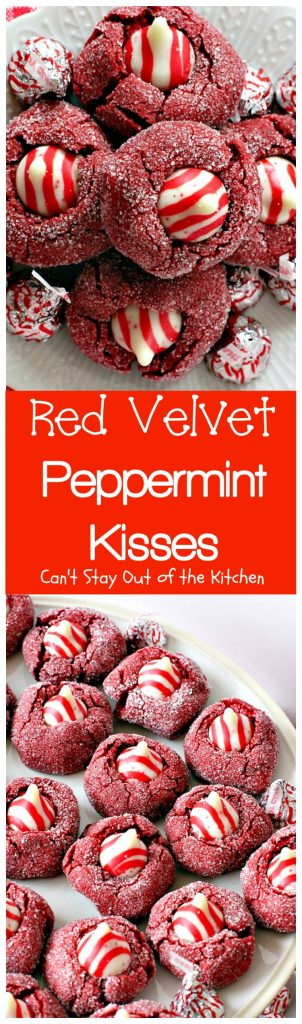 Red Velvet Peppermint Kisses | Can't Stay Out of the Kitchen | these #RedVelvet #cookies are heavenly! #Hershey's peppermint-flavored candy cane kisses are put in the centers adding divine flavor. #chocolate #dessert