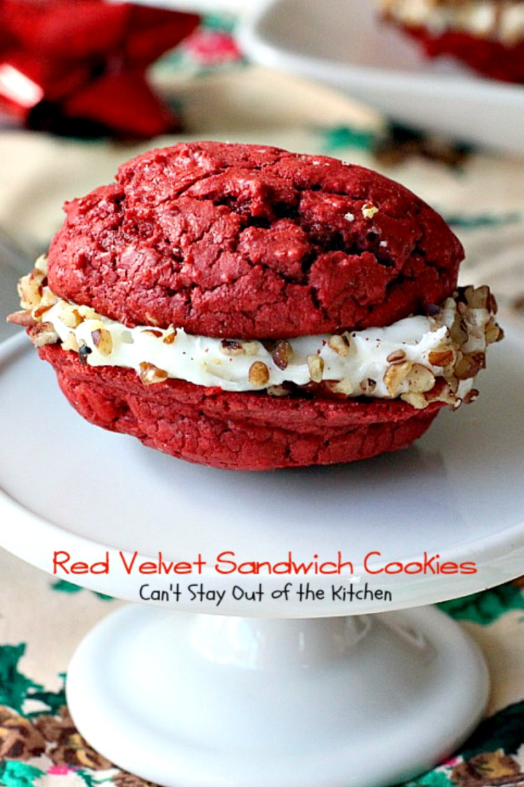 Red Velvet Sandwich Cookies Made With Cake Mix