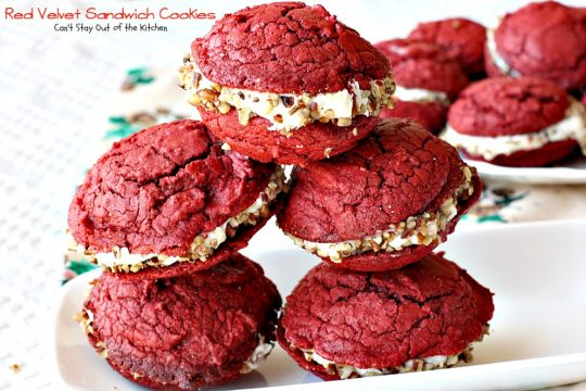 Red Velvet Sandwich Cookies | Can't Stay Out of the Kitchen | the most spectacular #redvelvet #cookie ever! These #whoopiepies have a luscious cream cheese, coconut and pecan frosting. They're absolutely amazing. #dessert