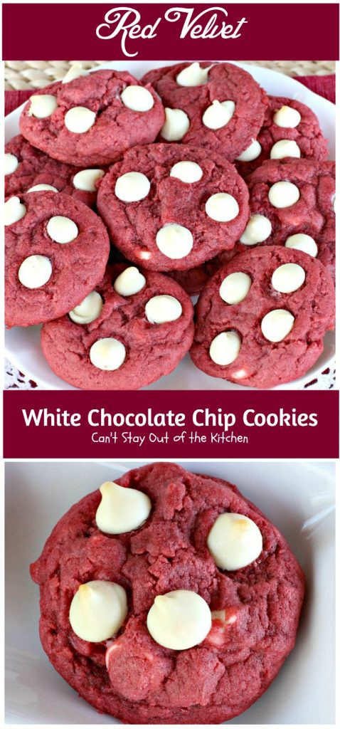 Red Velvet White Chocolate Chip Cookies | Can't Stay Out of the Kitchen| these delicious #redvelvet #cookies are filled with #whitechocolatechips for a rich, deep #chocolate flavor. #dessert