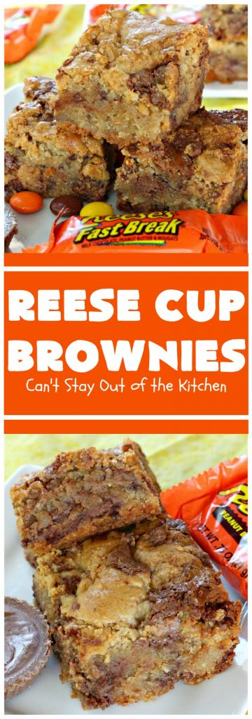 Reese Cup Brownies | Can't Stay Out of the Kitchen | These amazing #brownies are to die for! They are filled with #Reesecups and a great way to use up leftover #Halloween candy. #dessert #chocolate #peanutbutter #tailgating #ChocolateDessert #PeanutButterDessert #ReeseCupBrownies #ReesePeanutButterCupDessert #FourthOfJuly #FourthOfJulyDessert #LaborDayDessert