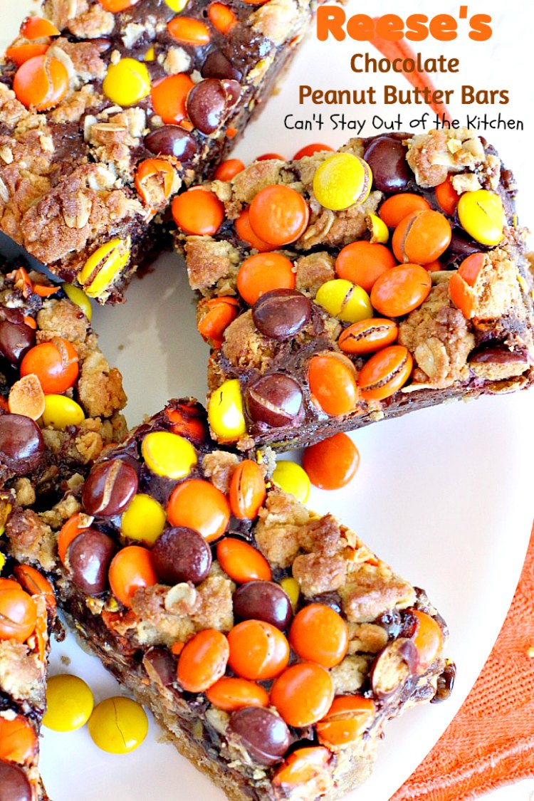 Reese's Chocolate Peanut Butter Bars - Can't Stay Out of the Kitchen