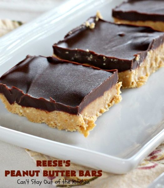 Reese's Peanut Butter Bars | Can't Stay Out of the Kitchen | this spectacular #dessert is rich, decadent & divine! It uses only 5 ingredients. It's a fantastic #copycat #recipe for #ReesesPeanutButterCups. No kidding! Perfect for #tailgating parties & potlucks, or #holidays like #MemorialDay or #FathersDay. #cookie #chocolate #brownie #ChocolateDessert #PeanutButterDessert #ReesesPeanutButterBars