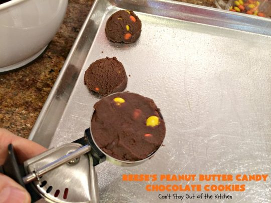 Reese's Peanut Butter Candy Chocolate Cookies | Can't Stay Out of the Kitchen | these #cookies are the ultimate #ReesesCookie! These #chocolate cookies are filled with #ReesesPeanutButterCandies. They're terrific for #holiday & #Christmas parties & a great way to use up leftover #Halloween candy. #PeanutButter #PeanutButterDessert #ChocolateDessert #ChristmasCookieExchange #dessert #ReesesPeanutButterCandyChocolateCookies