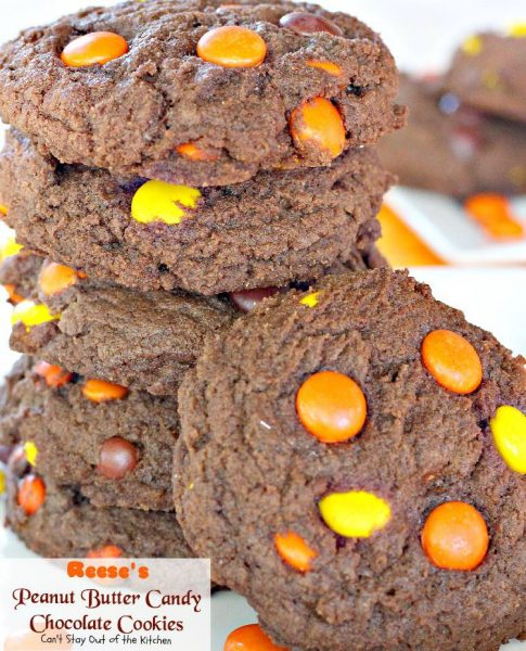 Reese's Peanut Butter Candy Chocolate Cookies | Can't Stay Out of the Kitchen | fabulous #chocolate #cookies are made with #Reese's #peanutbutter candies. Great way to use up leftover #halloween candy. #dessert