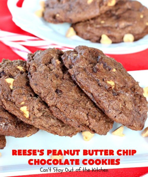 Reese's Peanut Butter Chip Chocolate Cookies | Can't Stay Out of the Kitchen | these chocolaty #cookies are heavenly. They're filled with #ReesesPeanutButterChips. #Chocolate & #PeanutButter are awesome together. This #dessert is marvelous for #holiday #baking or a #ChristmasCookieExchange. #tailgating #ChocolateDessert #PeanutButterDessert #ReesesPeanutButterChipChocolateCookies