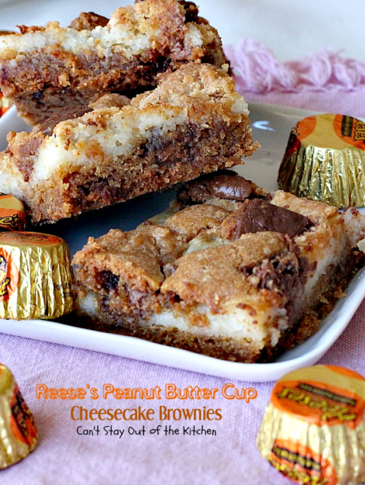 Reese's Peanut Butter Cup Cheesecake Brownies | Can't Stay Out of the Kitchen | these magnificent #brownies are divine! #Reese's #peanutbutter cups fill the cookie dough and they have a scrumptious #cheesecake layer to die for. #chocolate #dessert