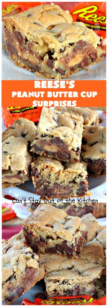 Reese's Peanut Butter Cup Surprises | Can't Stay Out of the Kitchen | these awesome #brownies have #ReesesPeanutButterCups tucked away between two layers of #MrsFieldsChocolateChipCookie dough. They are rich, decadent & absolutely heavenly. Perfect for #tailgating parties, a company #dessert or a #ChristmasCookieExchange. #PeanutButter #PeanutButterCups #chocolate #ReesesPeanutButterCupSurprises