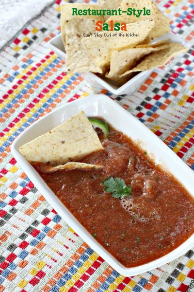 Pioneer Woman's Restaurant-Style Salsa | Can't Stay Out of the Kitchen | this awesome #salsa is fabulous for #tailgating parties. #Tex-Mex #appetizer