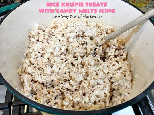Rice Krispie Treats with Candy Melts Icing | Can't Stay Out of the Kitchen | these delicious #treats are perfect for birthdays, potlucks or #tailgating parties. Everyone loves this #dessert, especially with the icing. #RiceKrispies #RiceKrispieTreats #RiceKrispiesCereal #RiceKrispieTreatsWithCandyMeltIcing #cookie #brownie #RiceKrispieDessert #CandyMelts