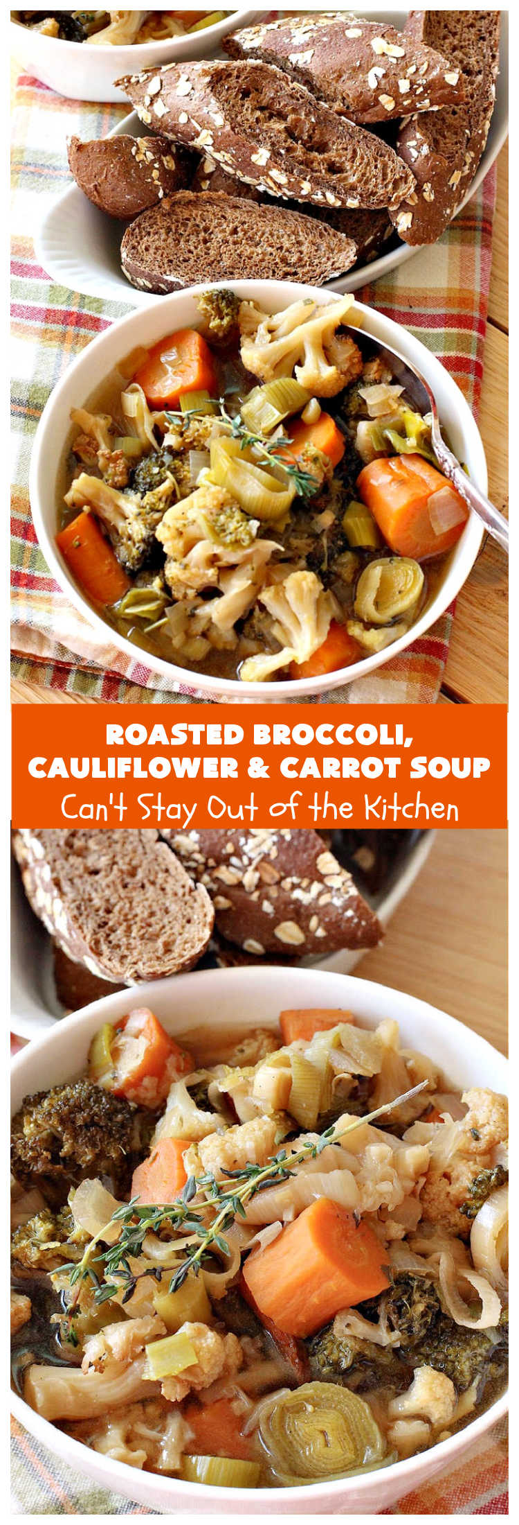 vRoasted Broccoli, Cauliflower and Carrots Soup   Can't Stay Out of the Kitchen   this amazing #soup starts with roasting the #vegetables which really enhances the flavor. This comfort food #recipe is perfect for cold, winter nights. It's also #healthy, #LowCalorie, #vegan & #GlutenFree. #Broccoli #carrots #Cauliflower #BroccoliCauliflowerAndCarrotsSoup