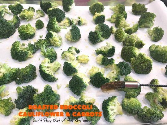 Roasted Broccoli, Cauliflower and Carrots | Can't Stay Out of the Kitchen | this easy, simple & delicious #vegetable #SideDish is wonderful for any entree. It's also great for #MeatlessMondays. #Vegan #GlutenFree #Healthy #LowCalorie #CleanEating #carrots #Broccoli #Cauliflower #RoastedBroccoliCauliflowerAndCarrots