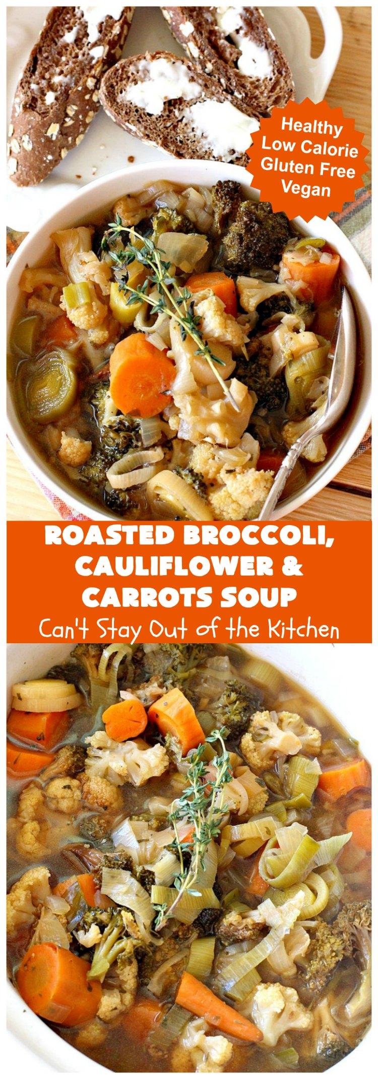 Roasted Broccoli, Cauliflower and Carrots Soup | Can't Stay Out of the Kitchen | this amazing #soup starts with roasting the #vegetables which really enhances the flavor. This comfort food #recipe is perfect for cold, winter nights. It's also #healthy, #LowCalorie, #vegan & #GlutenFree. #Broccoli #carrots #Cauliflower #BroccoliCauliflowerAndCarrotsSoup