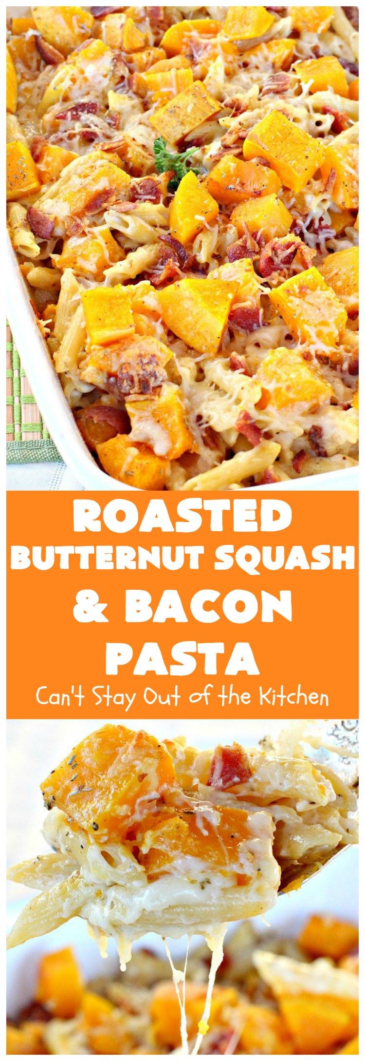chicken alfredo butternut squash pasta bake - can't stay