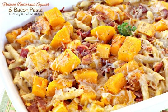 Roasted Butternut Squash and Bacon Pasta | Can't Stay Out of the Kitchen | this is one spectacular #pasta dish. #bacon amps up the flavor and #provolone and #parmesan cheese make it thick and creamy. #butternutsquash