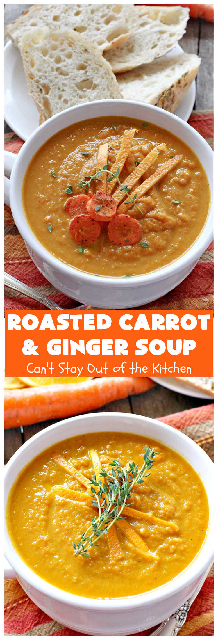 Roasted Carrot and Ginger Soup | Can't Stay Out of the Kitchen | this lovely #soup is creamy & delicious & perfect for cold, winter nights when you want comfort food. It's also #GlutenFree #vegan, #CleanEating & #LowCalorie. #carrots #ginger #leeks #MeatlessMondays #RoastedCarrotAndGingerSoup #CarrotAndGingerSoup