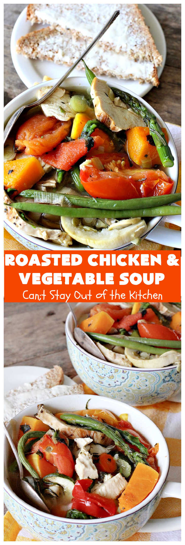 Roasted Chicken and Vegetable Soup | Can't Stay Out of the Kitchen | this superb #soup #recipe is made with grilled #chicken & lots of fresh #veggies seasoned with fresh #basil, #oregano, #thyme & #rosemary. It's #healthy, #LowCalorie, #GlutenFree & #CleanEating. #HealthySoupRecipe #GlutenFreeSouprRecipe #LowCalorieSoupRecipe #RoastedChickenAndVegetableSoup #tomatoes #broccoli #asparagus #carrots #zucchini #YellowSquash