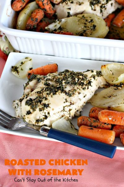 "Roasted Chicken with Rosemary | Can't Stay Out of the Kitchen | this is my favorite ""go-to"" #chicken entree. It's a one-dish meal & is oven ready in about 5 minutes! It's so delicious everyone always raves over it when I make it. #potatoes #carrots #gluten free"