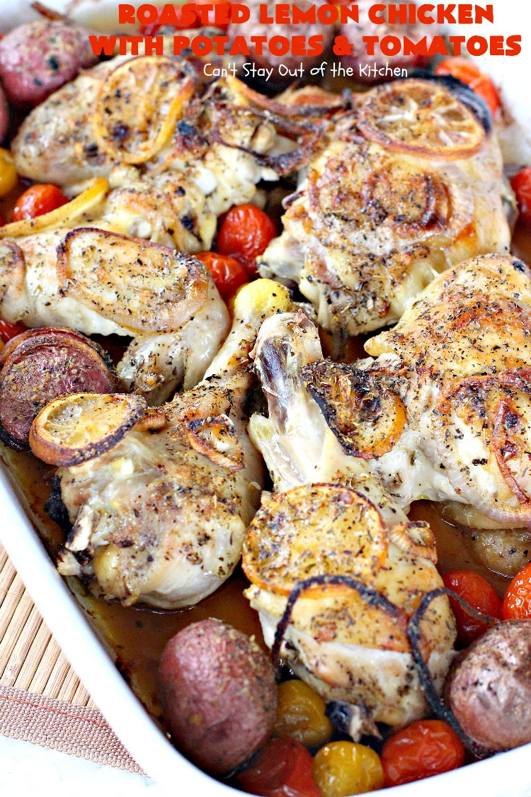 Roasted Lemon Chicken with Potatoes and Tomatoes