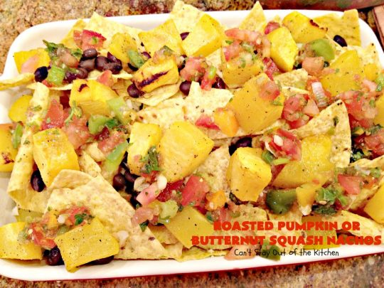 Roasted Pumpkin or Butternut Squash Nachos | Can't Stay Out of the Kitchen | these #nachos are beyond amazing! They use 2 layers of #tortilla chips, #blackbeans, roasted #pumpkin or #butternutsquash, #picodegallo & hot pepperjack #cheese. Perfect #tailgating #appetizer. #glutenfree #vegetarian