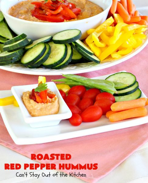 Roasted Red Pepper Hummus | Can't Stay Out of the Kitchen | this is one of the most delectable #hummus #recipes on the planet! It is absolutely succulent & amazing. It's a wonderful treat with #VeggieDippers if you're looking for a #healthy, #LowCalorie, #GlutenFree & #Vegan snack. #appetizer #tailgating #RoastedRedPepperHummus #VeganAppetizer #GlutenFreeAppetizer