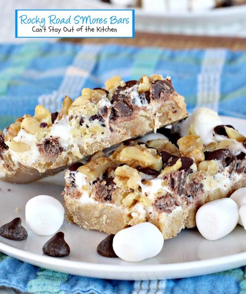 Rocky Road S'Mores Bars | Can't Stay Out of the Kitchen| BEST #S'Mores #brownie we've ever eaten. #cookie #dessert #chocolate