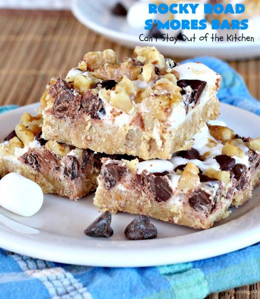 Rocky Road S'Mores Bars | Can't Stay Out of the Kitchen | We have loved these #brownies for decades! They are absolutely mouthwatering & will have you drooling from the first bite. #cookies #RockyRoad #dessert #Marshmallows  #SMoresBars #GrahamCrackers #RockyRoadSmoresBars #chocolate #MarshmallowDessert #ChocolateDessert #RockyRoadDessert #SmoresDessert #Tailgating