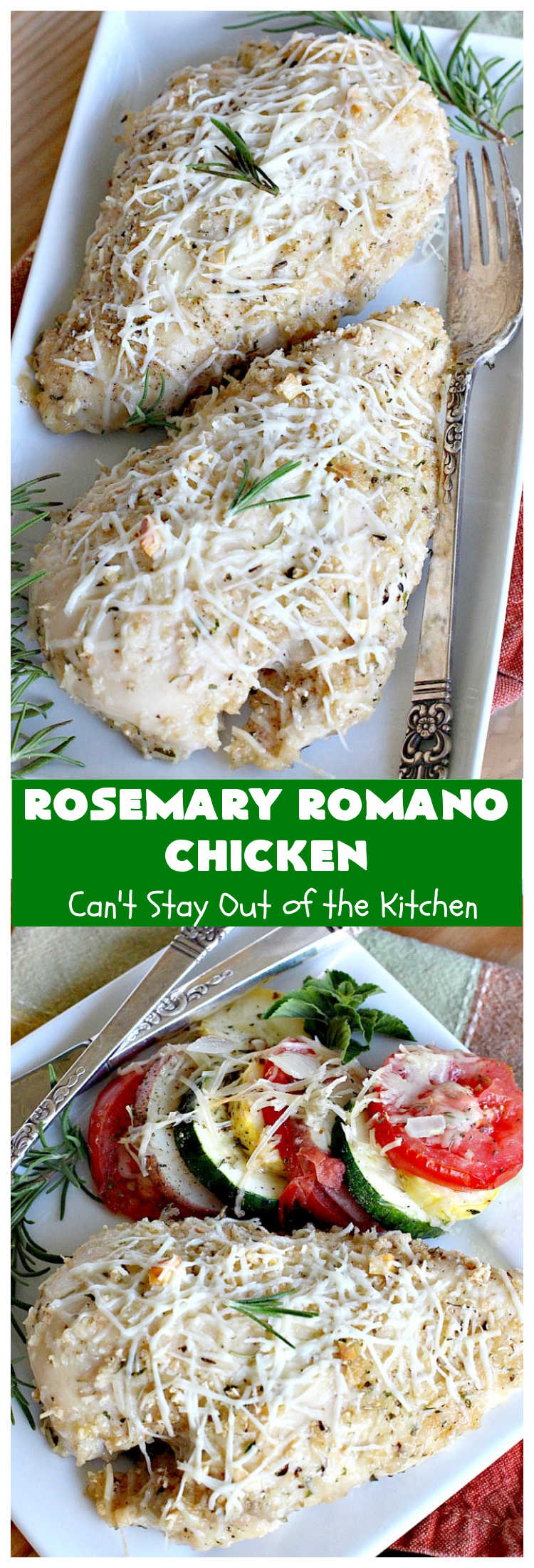 Rosemary Romano Chicken | Can't Stay Out of the Kitchen | this fabulous #chicken entree can be oven ready in 5 minutes! Great #casserole to make when you're short on time for weeknight dinners or company. #RomanoCheese #GlutenFree #rosemary #RosemaryRomanoChicken