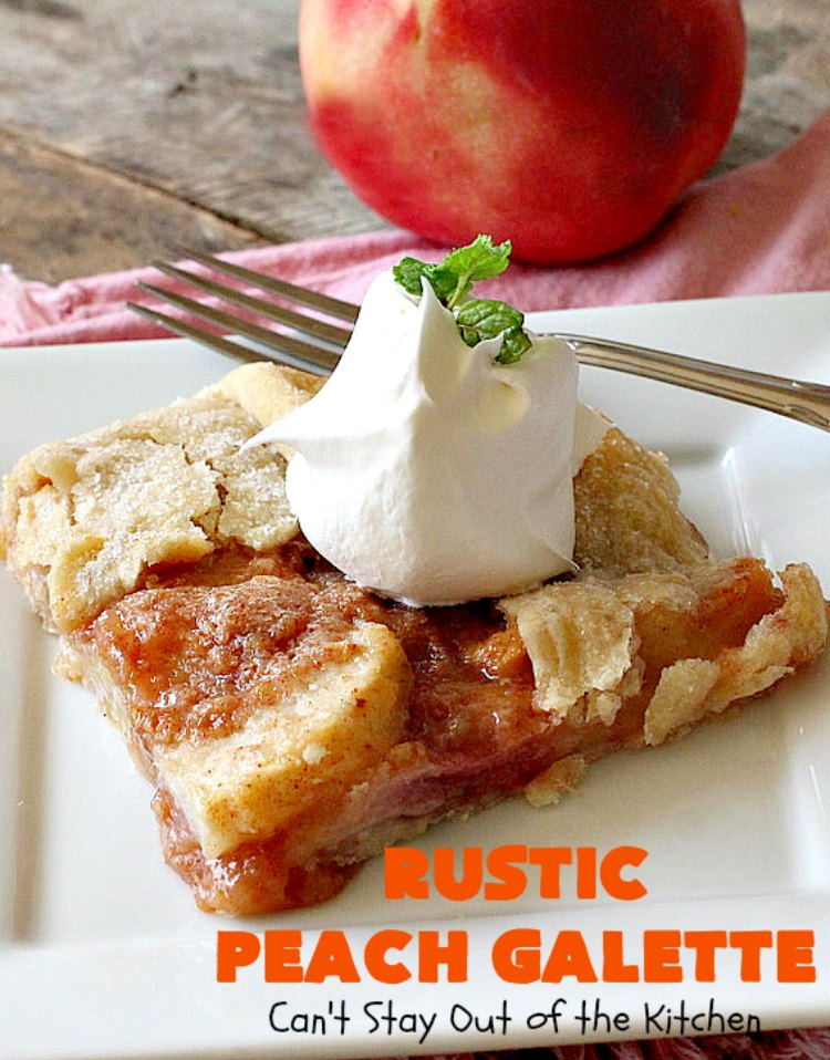 Rustic Peach Galette | Can't Stay Out of the Kitchen | this rustic version of #peachpie is sensational. Every bite will have you drooling! #peaches #WhiteFleshPeaches #peachdessert #dessert #CANbassador #WashingtonStateFruitCommission #WashingtonStateStoneFruitGrowers