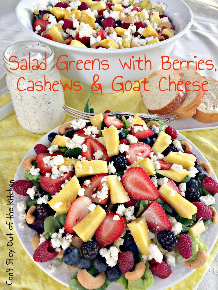 Salad Greens with Berries, Cashews, and Goat Cheese
